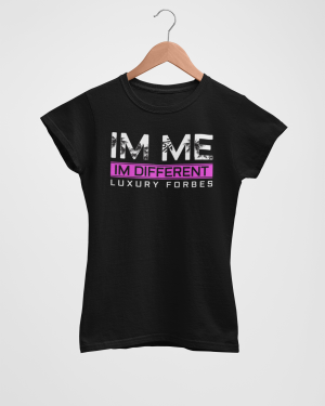 Womens Summer Black T-Shirt Im Me by Luxury Forbes