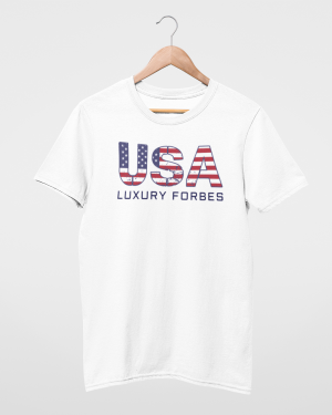 USA Men's White T-Shirt by Luxury Forbes